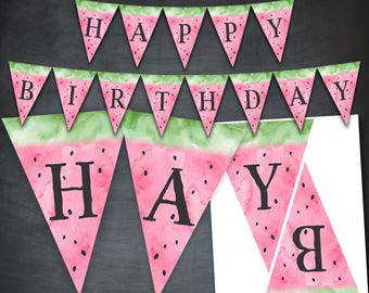 Watermelon Banner, Watermelon Birthday Banner, Watermelon Party, Watercolor, Happy Birthday, Watermelon Printable, Digital, Instant Download