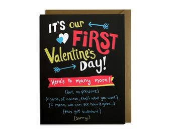 Funny Valentine Card - First Valentine's Day Card, Love Card, New Couple, For Her, For Him, Sarcastic, Awkward