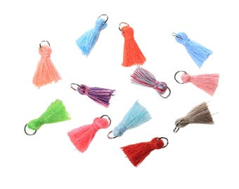 Petite Cotton Tassels - Assorted Random Colors Package of 10