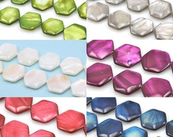 18mm Hexagon Shell Mother of Pearl Beads for Jewellery Making Craft -1 string