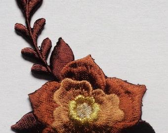 Iron On Patch Applique - Brown Flower Spray
