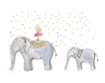 Circus Elephant Ballerina Nursery Print