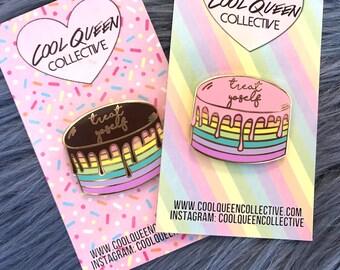 Treat Yoself Drippy Cake Enamel Pin - v. 2 Pastel