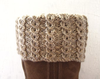 Boot Toppers, Leg Warmers, Reversible Boot Cuffs, Cabled Leg Warmers, Ribbed Boot Cuffs, Taupe Boot Toppers, Taupe Boot Cuffs