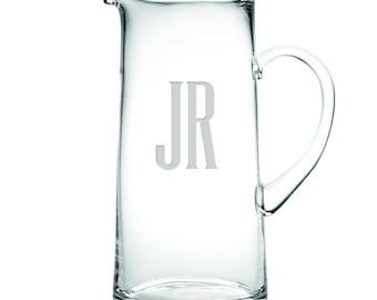 Monogrammed Tankard Glass Water Pitcher 60oz