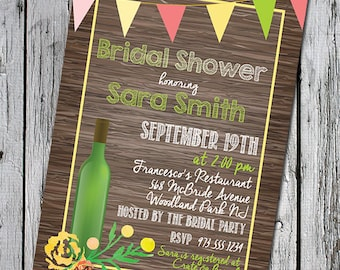 5x7 downloadable printable Bridal Shower invitation - wine bottle yellow flowers bunting pennant coral pink white light green rustic invite