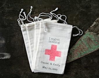 Personalized favor bags, set of 25, DIY hangover kit, I Regret Nothing, wedding favor, bachelor bachelorette party, hotel welcome bag