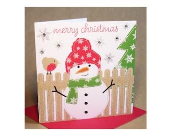 Christmas Snowman Card  (jewelled)