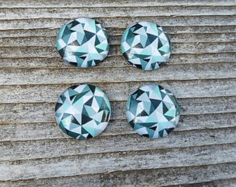 12mm Geometric Glass Cabochon