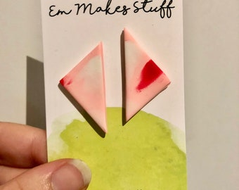 Pink paints large triangle stud earrings