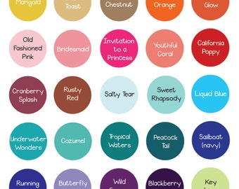 Our Hobby to Your Home and Wedding.  Paint & Vinyl Colors that we currently offer.