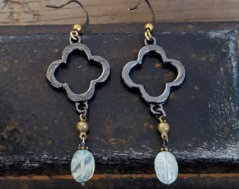 Aquamarine Gemstone Earrings, Clover Earrings, Quatrefoil Earrings, Black and Gold, Light Blue Stone, Silver Gold Brass, Mixed Metal