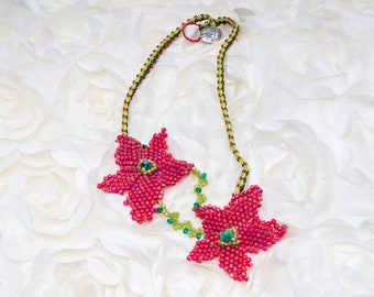 Red Crystal Flowers Necklace