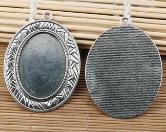 2pcs tibetan silver delicate oval cameo 25*35mm cabochon settings EF2139
