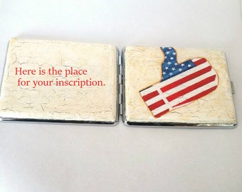 American flag of the cigarette case metal 100 mm, Cigarette case metal, Metal cigarette case, Cigarette case with American flag, Gift smoker
