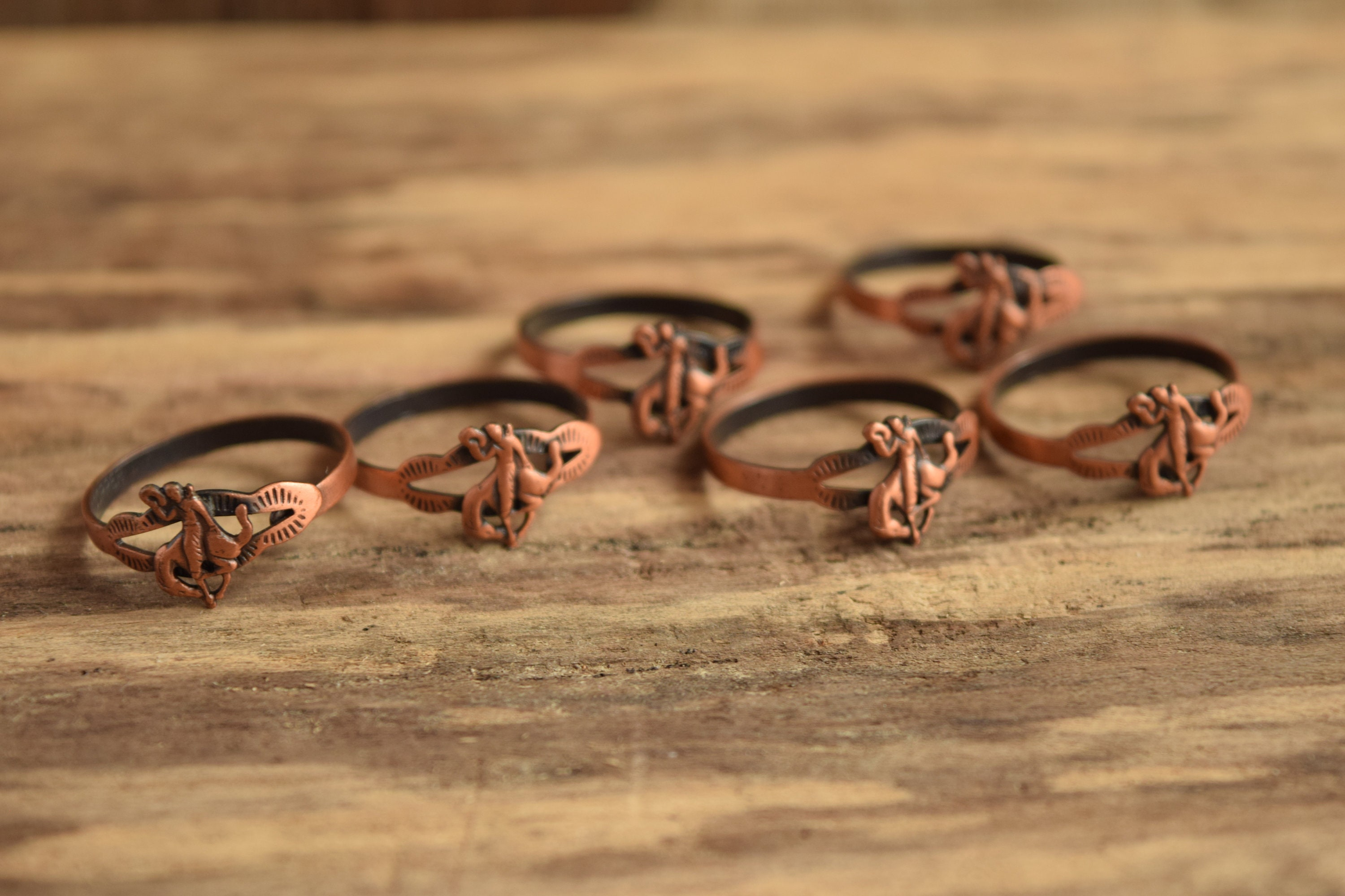 hand wire rings index copper and earrings details coper textured soldered