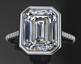 halle ring - 3.5 carat emerald cut NEO moissanite engagement ring, emerald cut ring