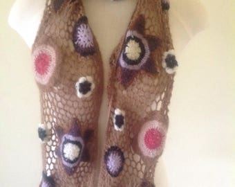 Knit scarf handmade, wool scarf, brown floral scarf, long narrow scarf, piggy square scarf, colourful scarf, gypsy scarf, woodstock scarf.