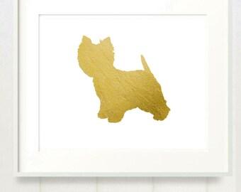 Gilded Westie 8x10 Mod Dog Art Print - Metallic Gold Leaf Silhouette West Highland Terrier on White Background