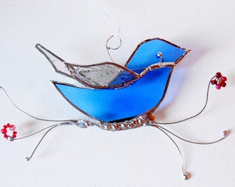 Stained Glass Bird The Happy Bluebird Ornament Home Decor Suncatcher