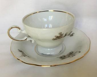 Sepia Rose, Johann Haviland, Bavaria, Germany, China Teacup and Saucer