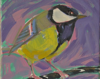 Original bird oil painting / birds / Titmouse / sketchy painting / collectibles / bird lovers / childs room / small painting / home deco