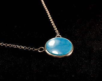 Battle Mountain Blue Gem Rare Natural High Grade Intense Blue Turquoise Pendant Sterling Silver Necklace 9.4 Grams