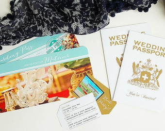 Tobago Wedding Passport with matching Tickets and Tag