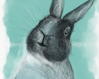 Rabbit poster for enjoy and happinnes A2