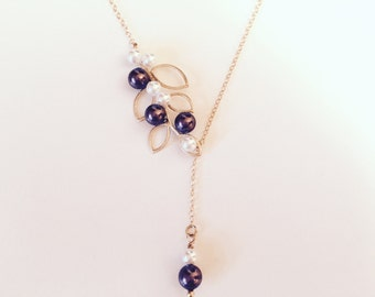 Burgundy Necklace, 14 Kt Gold Necklace, Leaf Necklace, Lariat Y Necklace, Dainty Fine Necklace, Elegant Necklace, Pearl Necklace, Minimal