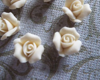 11mm Ivory Ceramic Roses - Flower Cameos - Cream - Beige - Flat Back Cabochons - Qty 6