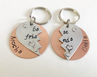 TWO Pet ID Tags - Pair of Dog Tags - Cat Tag-  Copper and Aluminum Dog Tag - Custom Pet Tag - Collar Tag - Best Friends Dog Tag