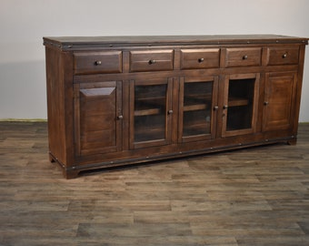 Rustic Solid Wood 82 Inch Sideboard / Media Console / Multi Purpose Cabinet