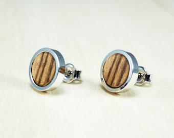 Earrings for men, mens earrings, mens studs, wood earrings, post earrings, gift for him, christmas gift, mens jewelry, circle earrings stud