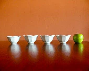 4 White Porcelain Lotus Bowls, Chinoiserie Flower Rice Bowl Set, Hostess Gift