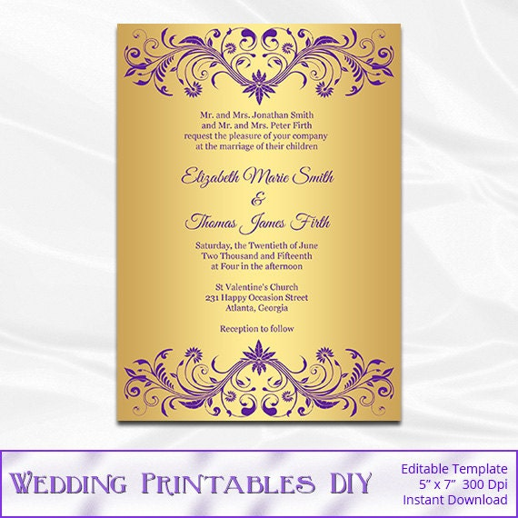 Purple And Gold Wedding Invitation Template Diy Gold Foil
