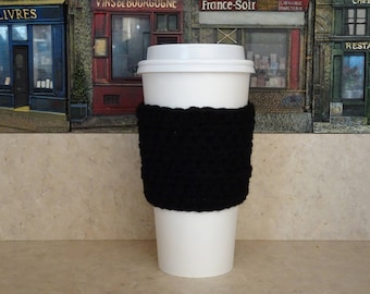 Black Coffee Cup Sleeve, Crochet Cup Sleeve, Crochet Cup Cozy, Cup Cozy, Reusable Cup Sleeve, Coffee Lover Gift, Tea Cozy,
