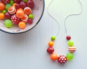 picante necklace - remixed vintage lucite - hot pepper red orange lime green - stripe polka dot