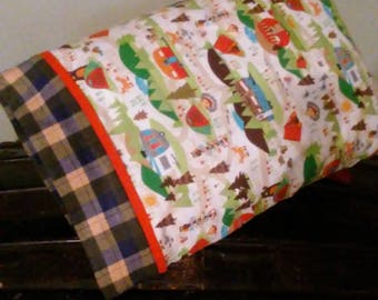 Fun camping and woods themed travel sized pillow case.