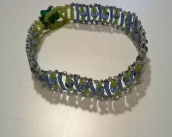 Sky blue and green seed beads bracelet