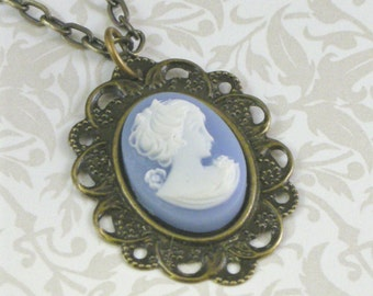Vintage-Style Cameo Necklace - Blue