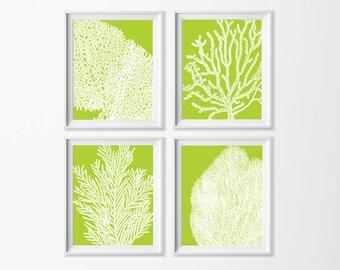 Lime Coral Wall Art , Beach Art Printable , Lime Green Wall Art , Coastal Wall Art Nursery , Large Beach Art , Nursery Nautical Art Sea