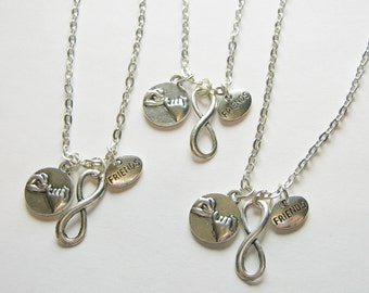 3 Friends Pinky Promise Pinky Swear Infinity BFF Necklaces
