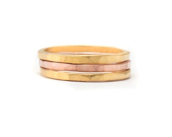 Yellow and Rose Gold Ring Set - Set of 3 Ring Bands - Whisper Thin RIngs - Hammered