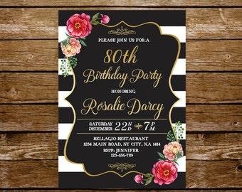 85th birthday invite etsy 80th birthday invitation woman elegant birthday invite 21st birthday 30th 40th 50th 60th birthday printable invitation filmwisefo Choice Image