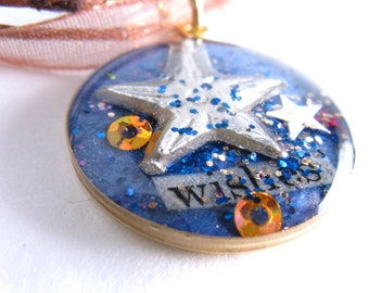 Starfish wishes  - luminous resin filled brass charm with ribbon cord chain - OOAK
