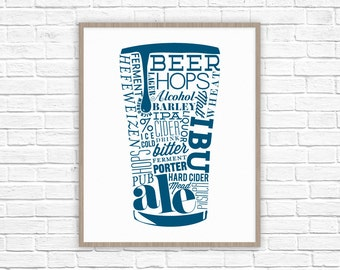 Typography Beer Poster | Bar Art | Father's Day Gift | Gifts for Husband | Gifts for Dad, Men, Brother