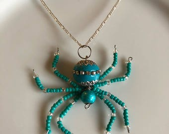 Turquoise beaded Spider Necklace