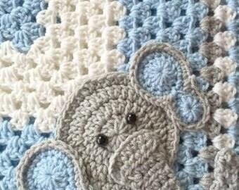 Crochet Pattern - INSTANT PDF DOWNLOAD - Crochet Pattern  - Applique Pattern - Elephant - Zoo Animals - Nursery Theme - Cute