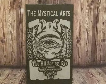 Handmade Wooden Psychic Sign, Mystical Arts Sign, Fortune Teller Sign, Seeing Eye Sign, Psychic Decoration, Occult Sign, Tarot Sign
